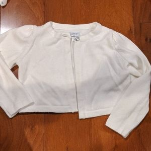 White Gymboree sweater with silver button